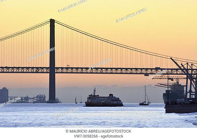 The Tagus river at sunset. Lisbon, Portugal