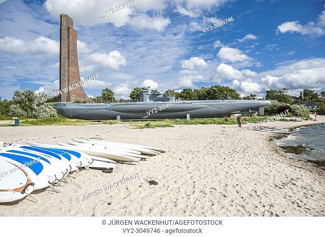 Naval memorial and submarine U995, Laboe, Baltic Sea, Schleswig-Holstein, Germany, Europe