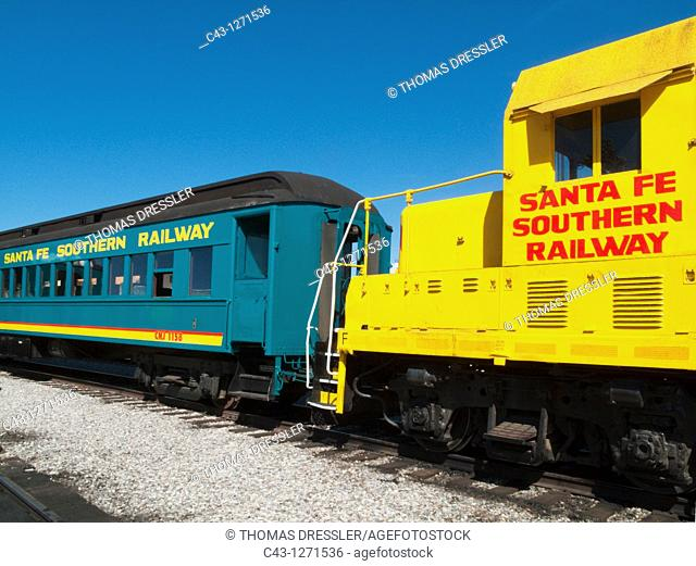 USA - The historic diesel engines and trains of the Santa Fe Southern Railway are used for touristic excursions only  Santa Fe, New Mexico, USA