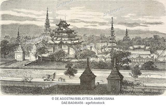 The Amarapura monastery, built by the former king for the Buddhist patriarch, Mandalay, Burma, illustration from L'Illustration, Journal Universel, No 1088