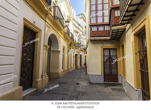 Street city view, colored buildings, Jerez, Andalucia
