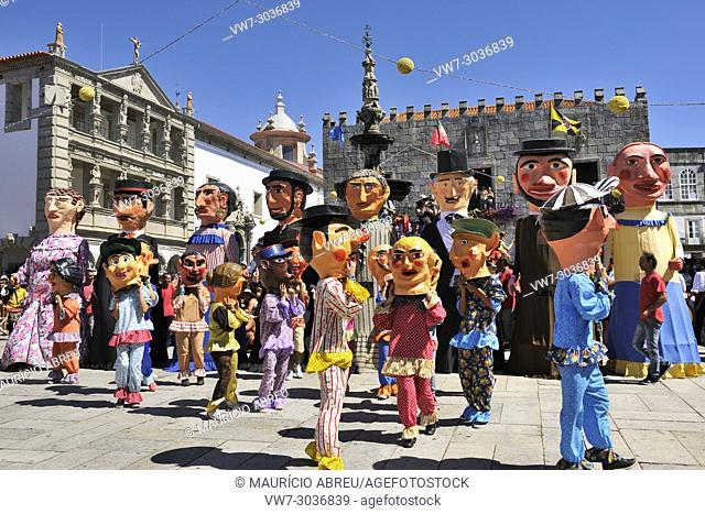 Traditional big-headed masks of Minho (cabeçudos) at the historical centre of Viana do Castelo. Our Lady of Agony Festivities