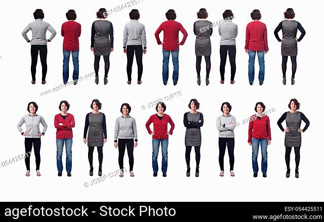 large group of photos of a woman with different dresses on white background