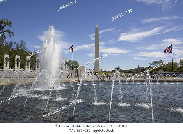 World War II Memorial, Washington Monument (baskground), Washington D.C., USA