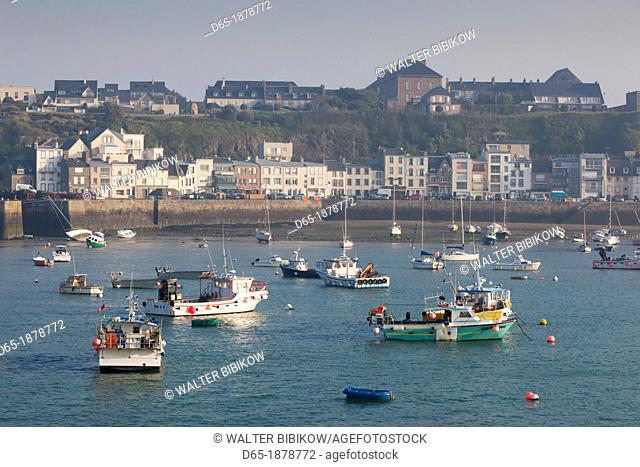 France, Normandy Region, Manche Department, Granville, elevated port view with boats