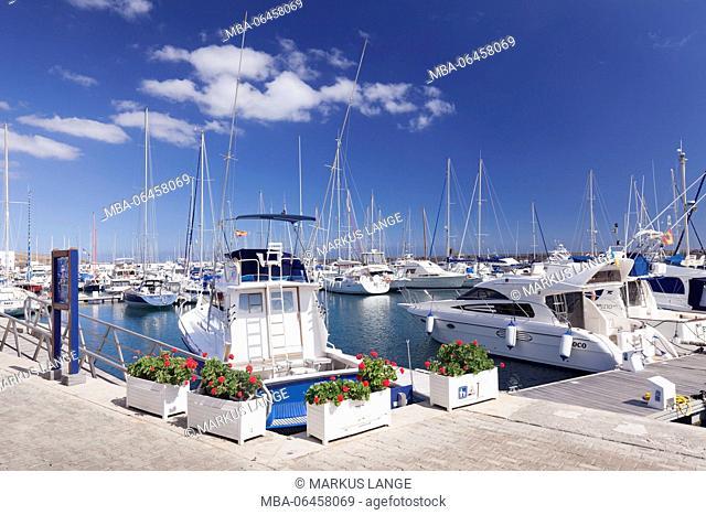 Yacht harbour of Puerto Calero, Lanzarote, Canary islands, Spain