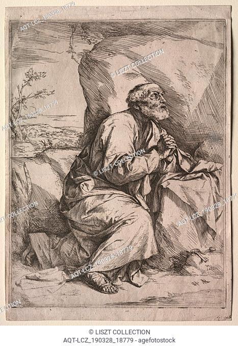 The Penitent St. Peter. Jusepe de Ribera (Spanish, 1591-1652). Etching