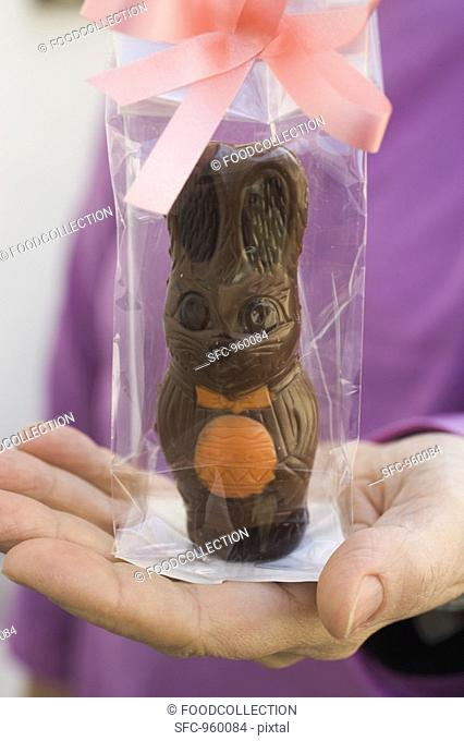Hand holding gift-wrapped chocolate Easter Bunny