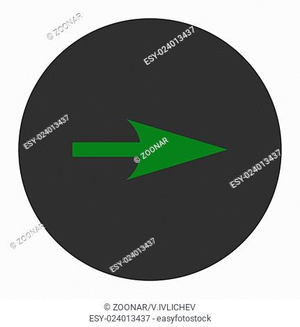 Arrow Axis X flat green and gray colors round button