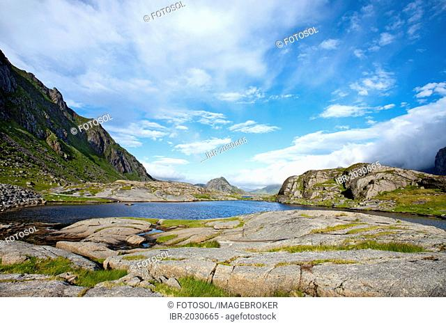 Clouds over the mountains, Steinsfjorden, Vestvagoy, Lofoten, Northern Norway, Norway, Scandinavia, Europe