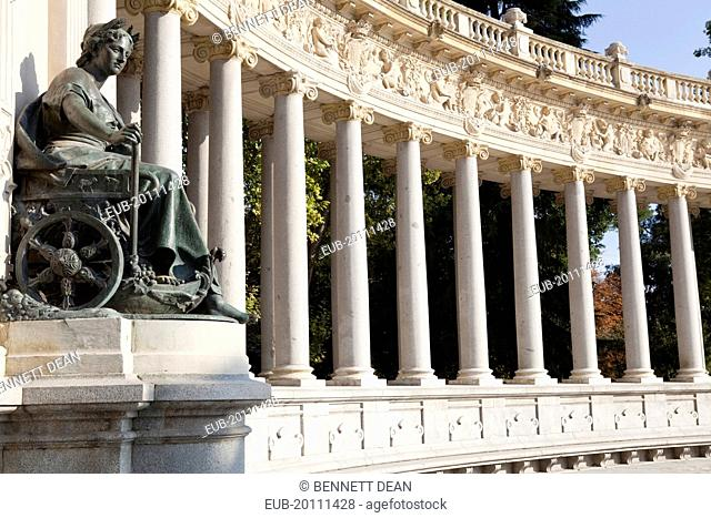 Detail of the monument to Alfonso XII at the Retiro