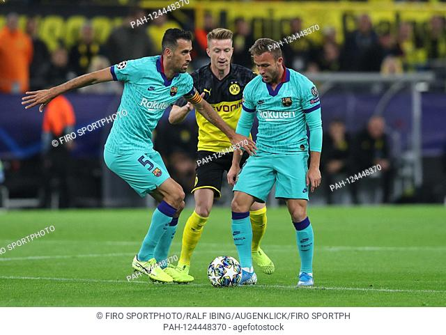 firo: 17.09.2019, football, UEFA Champions League, CL, season 2019/2020, BVB, Borussia Dortmund - FC Barcelona, Barca 0: 0 BUSQUETS, left and ARTHUR