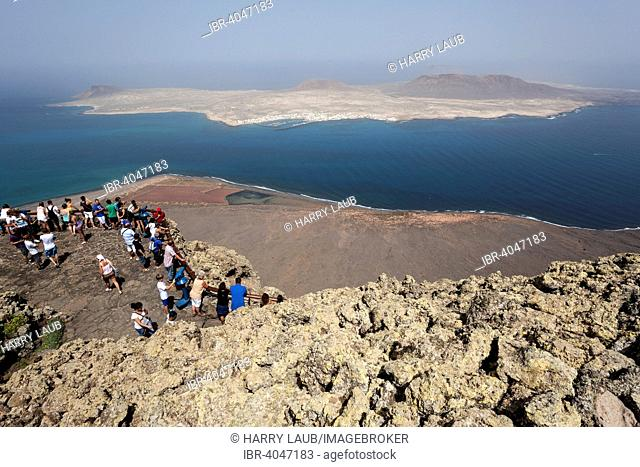 Views of the Mirador del Rio, the Salinos del Rio and Isla Graciosa, Lanzarote, Canary Islands, Spain