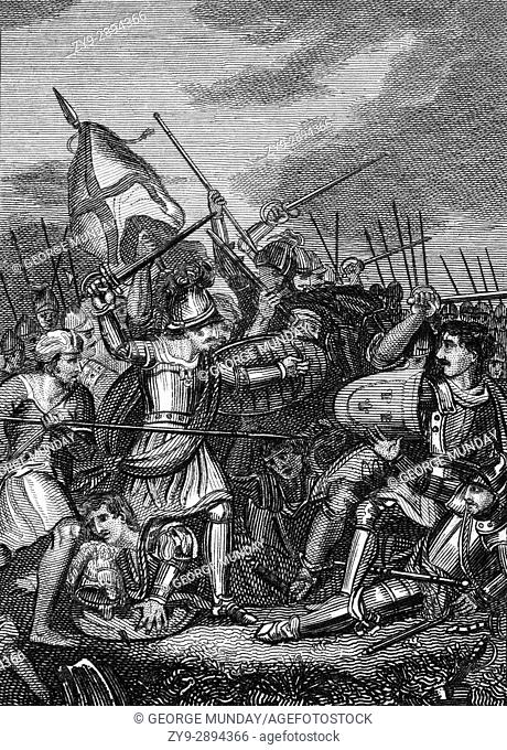 The Battle of Agincourt was a major English victory in the Hundred Years' War. The battle took place on Friday, 25 October 1415 is some 40 km south of Calais