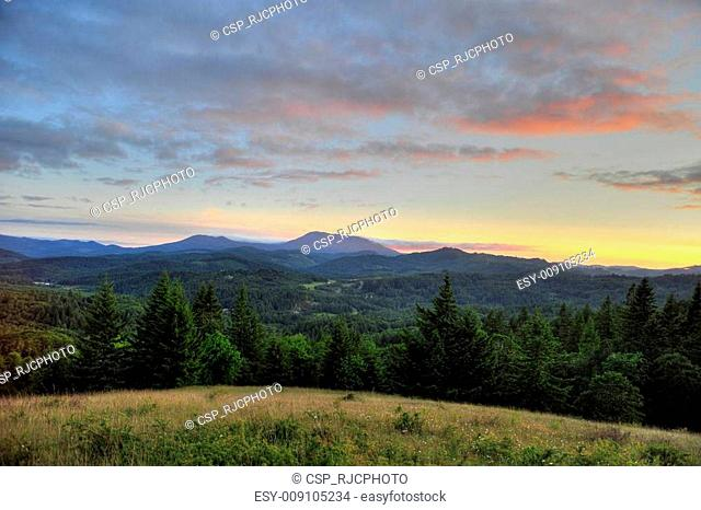 Sunset over mountain range