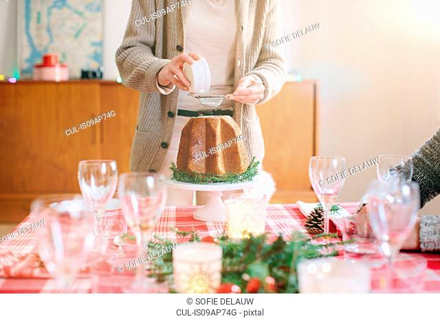 Woman serving desert at family Christmas party