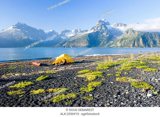 Female Kayaker Sitting By Tent At Campsite On Beach Relaxing With A Book Northwestern Fjord Kenai Fjords National Park Alaska Kenai Peninsula Summer