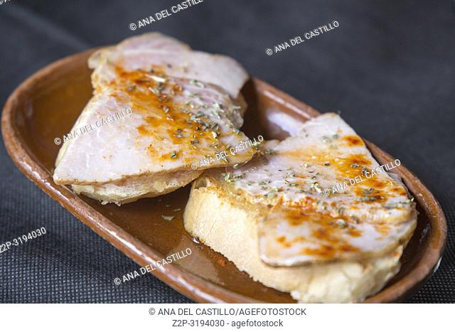 Lacon on bread appetizer in Galicia Spain