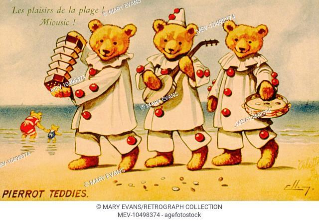 Seaside postcard with three Pierrot teddy bears playing music on the beach