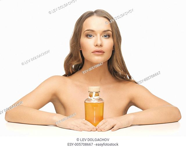 picture of beautiful woman with oil bottle