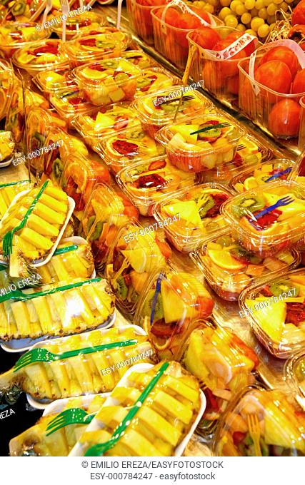 Salad fruit packs  La Boqueria Market, Barcelona, Catalonia, Spain