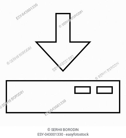 Download to server icon black color vector illustration flat style outline
