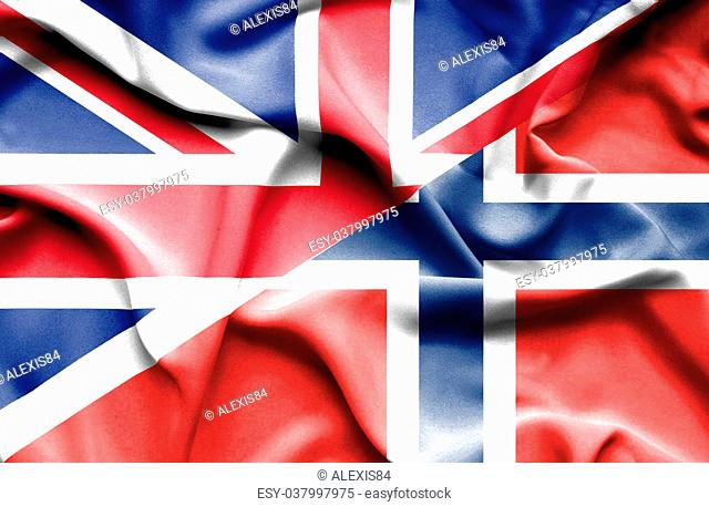 Waving flag of Norway and