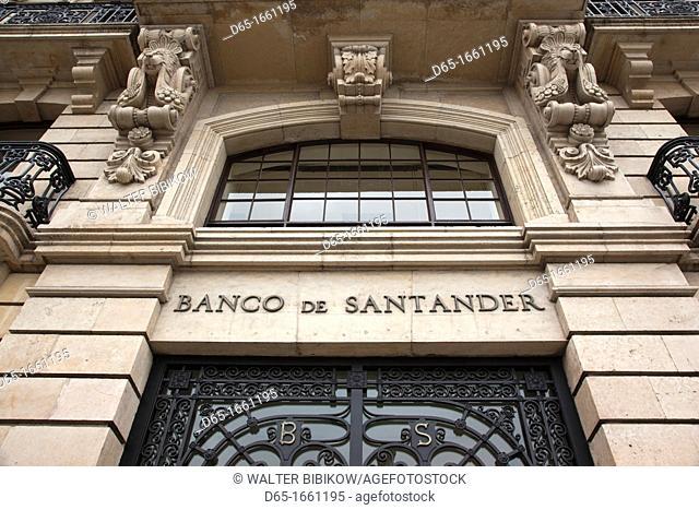 Spain, Cantabria Region, Cantabria Province, Santander, detail of the original Banco de Santander building, largest bank in Europe