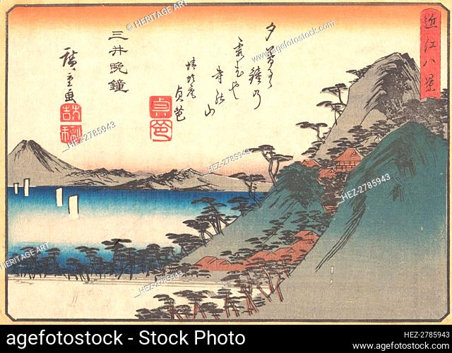 Evening Bell at Miidera Temple, from the series Eight Views of Omi..ca. 1834-35. Creator: Ando Hiroshige