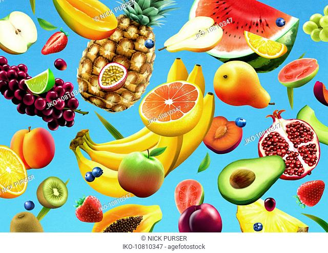 Lots of different fresh fruit falling