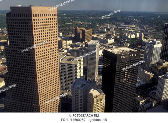 Atlanta, GA, Georgia, Aerial view of downtown Atlanta facing South, from Westin Peachtree Plaza Hotel