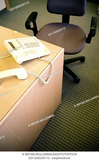 Telephone receiver on desktop