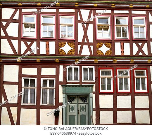 Stolberg carved wood facades in Harz mountains of Germany