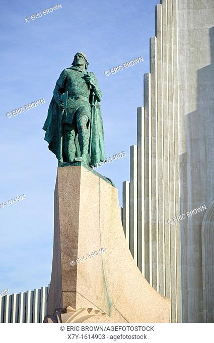 Outside the Hallgrímskirkja church, Reykjavik, Iceland  Also, an Alexander Calder statue of Leif Ericson