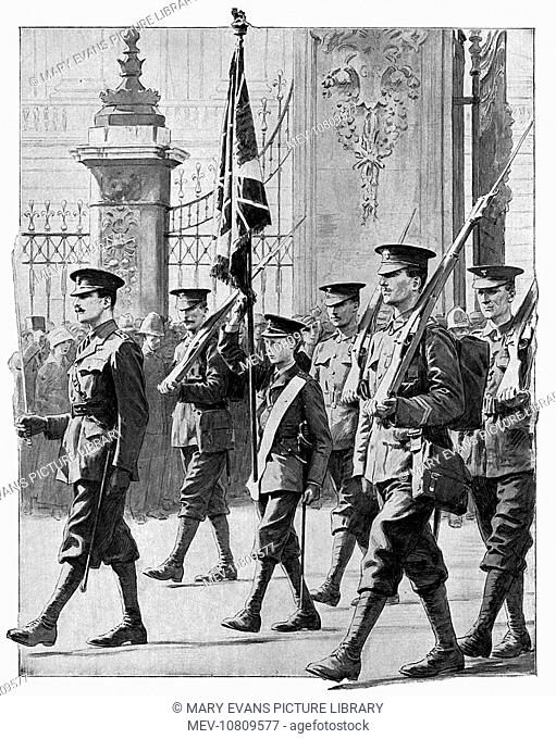 Edward, Prince of Wales (later King Edward VIII, then Duke of Windsor), parades with his fellow Grenadier Guards (all of whom are considerably taller than him)...