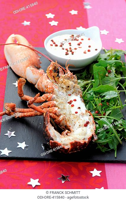 Lobster with pink pepper sauce