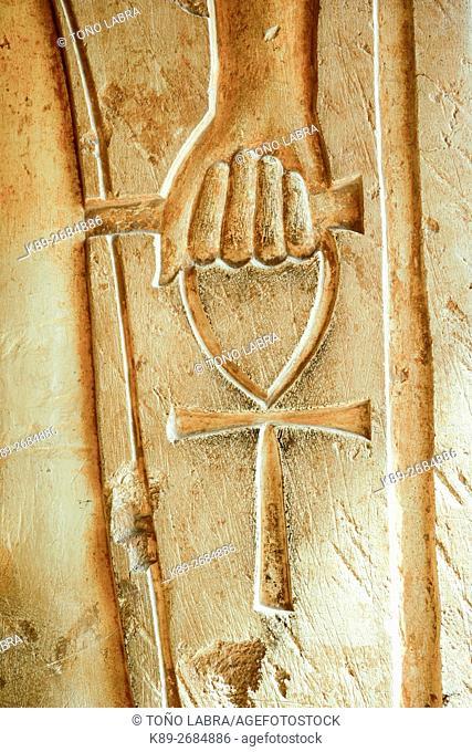Hieroglyph. Hatshepsut Temple. West Bank. Luxor old Thebas. Upper Egypt