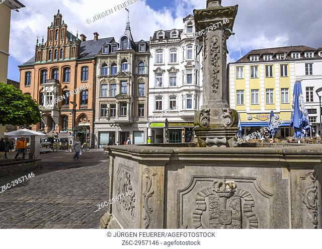 Nordermarkt square and the old brick building of the trade house Hansen, Flensburg, coastal town at the Baltic Sea, Germany