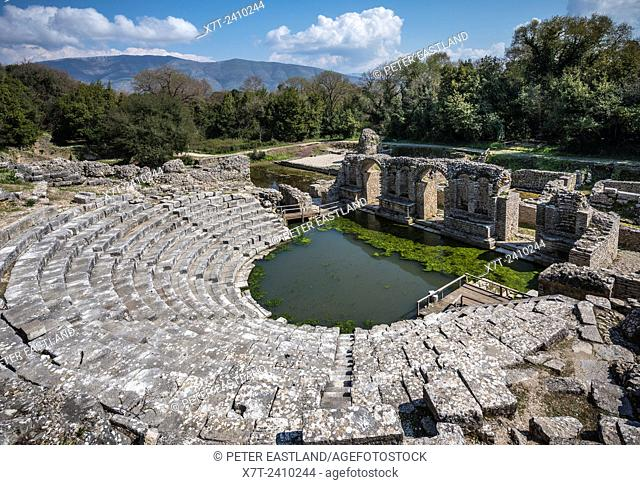 Looking across the remains of the 4th century BC Theatre at Butrint in Southern Albania