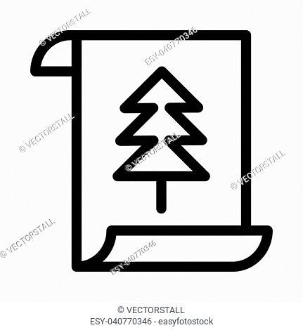 CHRISTMAS CARD THIN LINE ICON