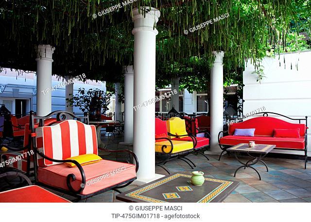 Italy, Campania, Sorrentina Peninsula, Sant Agata Sui Due Golfi, the Restaurant and Hotel Don Alfonso, the Outdoor Relax Area