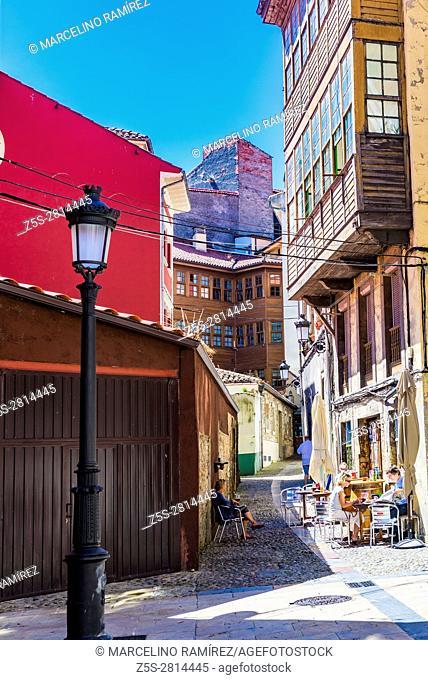 Picturesque street. Avilés, Principality of Asturias, Spain, Europe