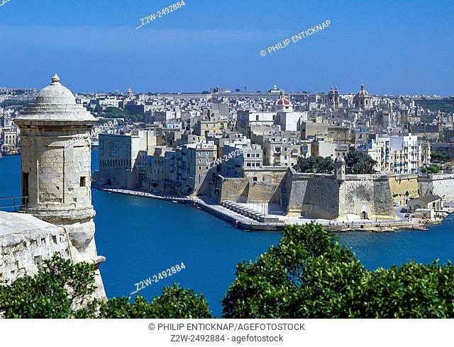 Malta, Grand Harbour. View to Senglea across Grand Harbour