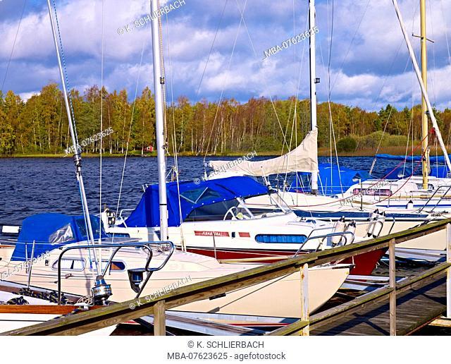 Sweden, Smaland, Ljungby, sailboats at Lake Bolmen