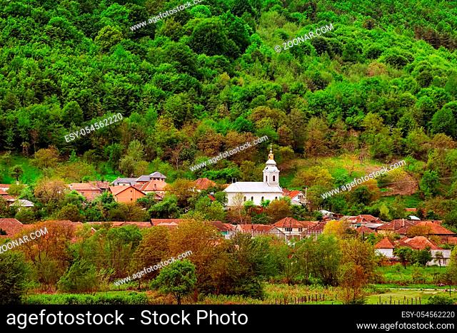 Small settlement in Romania at the foothills