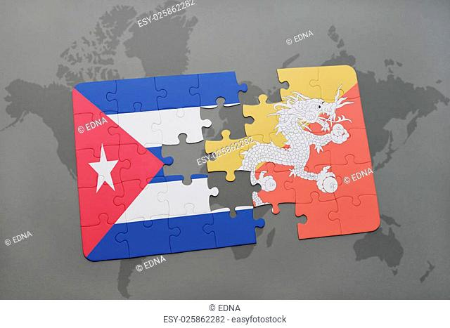puzzle with the national flag of cuba and bhutan on a world map background. 3D illustration
