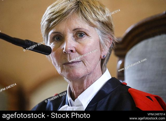 Chairwoman of the court Isabelle De Saedeleer pictured during the jury constitution of the assizes trial of Albanian Robert Frroku and Xhyljan Perdoda for the...