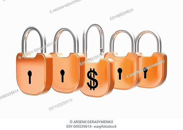 Padlocks concept - US dollar currency safety