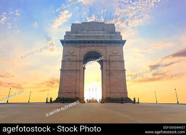 India Gate, famous landmark of New Dehli, no people