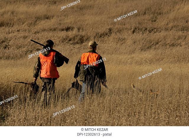Upland Pheasant Bird Hunters On Prairie With Yellow Lab